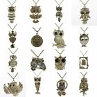 Fashion Women New Vintage Style Bronze Owl Long Chain Necklace Pendant Jewelry