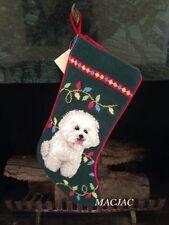 Bichon Dog Needlepoint Christmas Stocking NWT