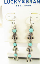 NEW Lucky Brand Silver Tone Tribal Feather Turquoise Stone Dangle Earrings