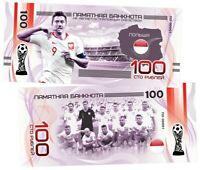 ✔ Russland Souvenir banknote 100 rubles Fifa World Cup 2018 UNC Team Poland