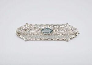 10K White Gold +/- 3/4 CT TW Blue Topaz Vintage Pin/Brooch