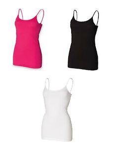 Ladies Spaghetti Adjustable Strap Cotton Vest Top SK212