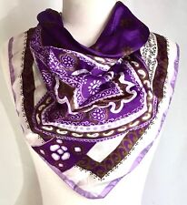 """Vintage 1960's Italian Scarf 26"""" Exotic Purple White & Olive Gold Flowers"""
