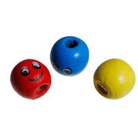 50 Stück Holzperlen Gesicht Bunt Mix 13 x 14 mm Holz Perlen Schnullerketten Loch