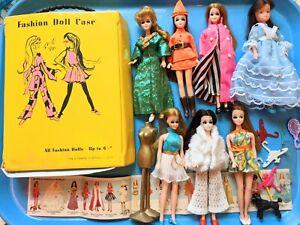 Lot of 7 Vintage Topper Dawn clone Dolls plus Yellow clone Fashion Case footwear