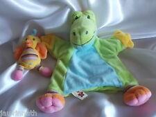 Doudou crocodile et son oiseau, marionnette, broderie étoiles, Nicotoy