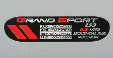 Data Spec Plate - Grand Sport - LS3 (2010-2013 C6 Corvette) Display