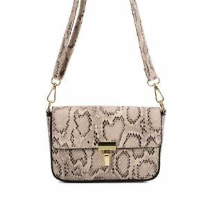 Ladies Crossbody Handbag BEIGE Snakeskin Handbags Designer Bags Shoulder Strap
