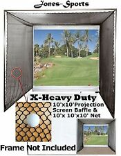 10'x10' Golf Impact Projection Screen Baffle & 10'x10'x10' Net - Frame Not Incl.