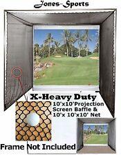 Golf Impact Projection Screen 10'x10' Baffle & 10'x10'x10' Practice Net No Frame