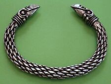 Large Viking Odin's Raven Head Solid Hand Crafted Silver Pewter Bracelet Bangle