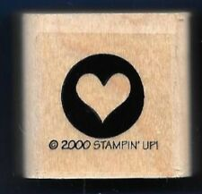 HEART STENCIL CIRCLE BORDER POSTAGE SEAL card Stampin' Up! 2000 RUBBER STAMP