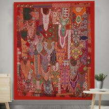 Indian Antique Rare Zari Tapestry Handmade Patchwork Pure Cotton Wall Hanging