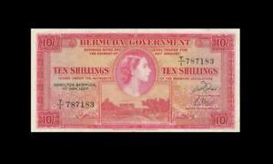"1957 BRITISH COLONY BERMUDA 10 SHILLINGS QEII 10/- ""T/1"" (( EF ))"
