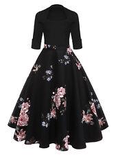 Womens Floral Midi Vintage Flare Dress Retro Square Collar Evening Party Dress