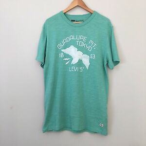LEVIS Printed T-Shirt Round Neck Size L Light Green LARGE