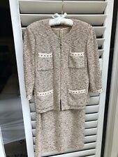 St John Collection 2 Piece - Dress & Jacket Browns/Beige Nubby Knit - 8
