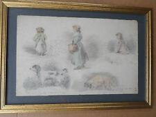 FAGEL Marie-XIXe- Dessins anciennes -Étude femme, chien-1829-drawing