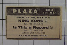 OXTED SURREY PLAZA CINEMA King Kong & Is This A Record Vintage 1977 Advert