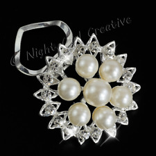 Pearl Scarf Ring, Scarf Clip, Clear Crystals, Bright Silvertone, Christmas Gift
