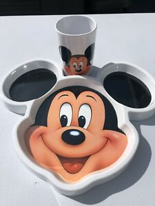 Classic Mickey Two Piece Dinnerware Set Plate Drinking Cup Selandia Presents