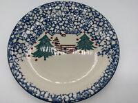 Folkcraft Cabin in the Snow Dinner Plates Set of 4 Christmas Tienshan Blue