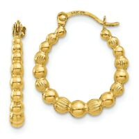 14K Beaded Hoop Earrings New Yellow Gold