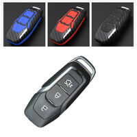 Carbon Fiber Design Shell+Silicone Cover Holder Fob Case  For  Ford Remote Key A