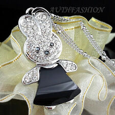 Womens Black ONYX Rabbit Pendant Necklace Crystal Animal Bunny Silver Plated P83
