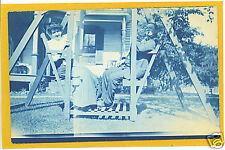 Cyanotype Real Photo Postcard Man Woman Glider Swing