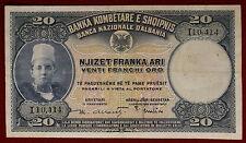 Albania Banca Nazionale 20 Franchi Oro 1926 Gavello 98 bb+ vf+ #B1099