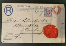 GB KEVII 9d Interesting Registered Letter to Germany. Perfin, Embossed & Seal.