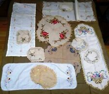 Hand Embroidered Lot of (12) Runners, Table Coverings, Linens, Textiles Vintage
