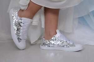 Silver Sequin Converse For Bride, Bridal Favorite !