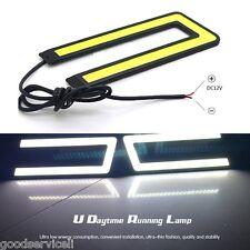 Daytime Running Driving Light DRL Headlight Fog Lamp 2 Pcs U Shape White 12V OEM