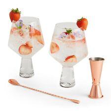 VonShef Gin & Tonic Cocktail Glasses Gift Set - Rose Gold Jigger & Stirrer