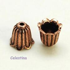 10 x Antique Copper Tulip Flower Bead Caps 10mm x 10mm - LF NF CF