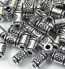 50 Antique Silver Pewter Imprint  Tiny Tube Cylinder spacer Beads 5x3mm