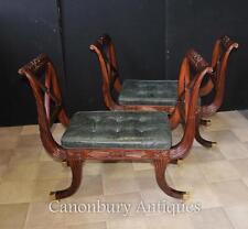 Pair Regency Stools Seats in Mahogany Day Chair