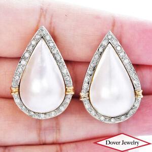 Estate Diamond Mabe Pearl 14K Gold Fancy Pear Shaped Earrings 11.1 Grams NR