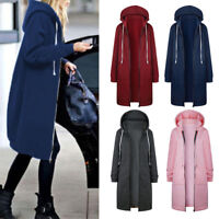 Women Winter Warm Zipper Pocket Hoodies Sweatshirt Long Coat Jacket Tops Outwear