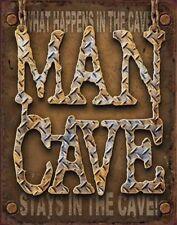 Man Cave Diamond Plate Rustic Metal Tin Sign 1701 40.6 X 31.8cm Made in USA