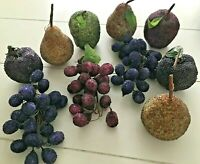Vintage Beaded Fruit Grapes Pears Life size Lot of 10