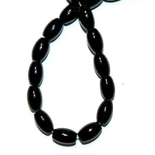 NG2585f Black Agate 10mm - 12mm Tapered Oval Gemstone Beads 15""