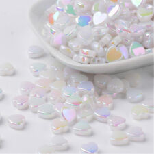 100 White AB Rainbow Shimmer Heart Beads Acrylic 8mm Ivory Pearl Lustre P00197w