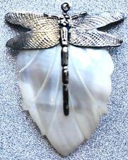"""Huge Vintage 3D Dragonfly Pendant On Shell Leaf 2.5"""" X 1 7/8"""" Rare"""