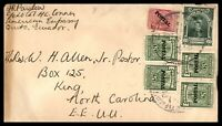 ECUADOR QUITO AMERICAN EMBASSY 1947 COVER PAIRS TO KING NC USA