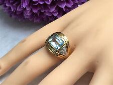 WERT 1.200,- € Aquamarin Diamant Brillant Damenring - 750er Gelbgold - RW 54