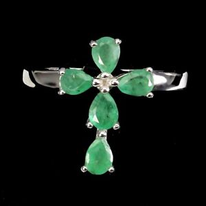 Unheated Pear Emerald 4x3mm White Gold Plate 925 Sterling Silver Cross Ring 7