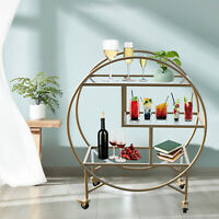 Deco Beverage Trolley Golden with 3 Glass Shelves Art Deco Dining NEW